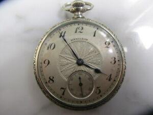 U-S-Antique-Hamilton-Pocket-Watch-17-jewels-Engraved-Gold-Filled-case-running