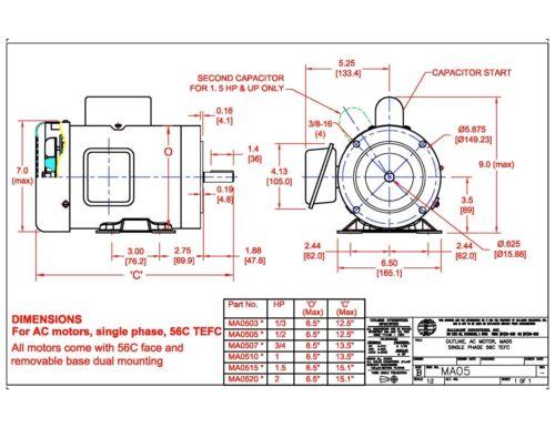 1//2HP WITH BASE 115V//208-230V 56C//TEFC 1PH AC MOTOR 3450 RPM