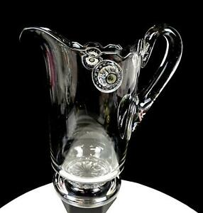 """EAPG PATTERN GLASS CLEAR APPLIED HANDLE FOOTED 9 3/4"""" PITCHER 1850-1910"""