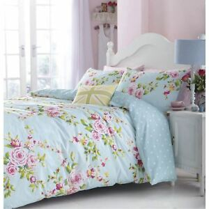 Catherine-Lansfield-ROSES-FLEURS-Canterbury-king-size-bleu-HOUSSE-COUETTE