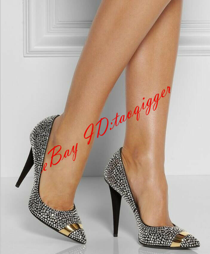 Sexy femmes Heels Pointed Toe Rhinestones High Stilettos Pumps Party chaussures Taille