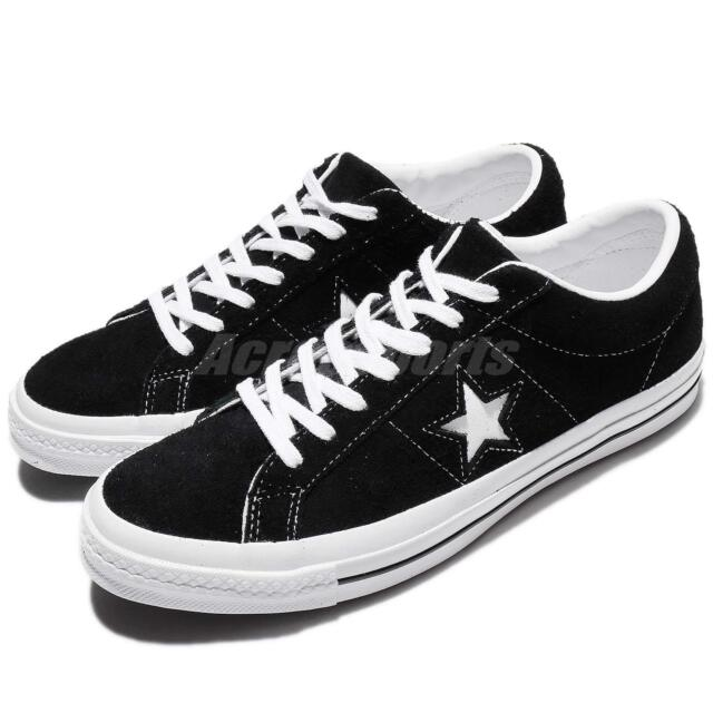 48ec39bb3f75 Converse One Star Ox Black White Suede Men Skateboarding Sneakers 158369C