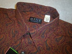 MINE-100-Cotton-Burgundy-Paisley-Print-Sport-Shirt-NWT-Large-125
