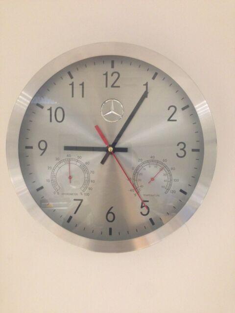 New Genuine MERCEDES BENZ Clock Silver Aluminium Black Numerals B67870476 OEM