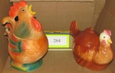 2 Colorful Chicken Unsigned Cookie Jars Lot 264