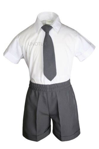 Baby Infant Toddler Formal Eton Dark Gray 4pc Vest Shorts Outfits Boy Suits S-4T