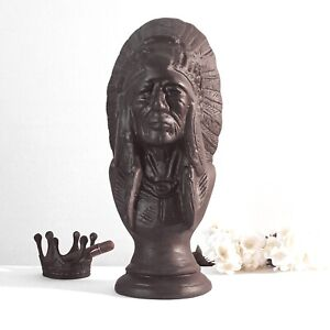Cigar-Store-Indian-Bust-in-Bronze-Painted-Finish-Vintage-Style-for-Aficionados