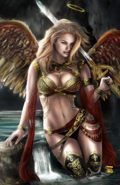 VANITY ANGEL ART PRINT BY MINDY WHEELER SIGNED 11x17