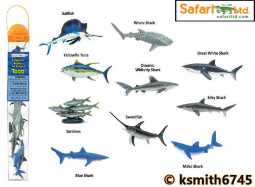 Safari poissons pélagiques en plastique TOOB Jouet Sauvage Mer Animal tube paquet de 10 nouveaux