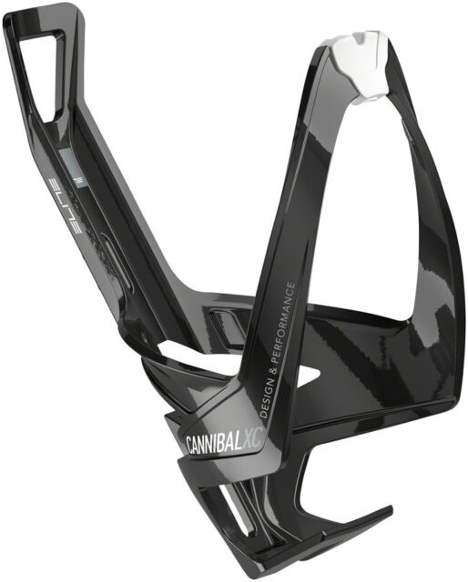 Elite Cannibal XC Water Bottle Cage: Gloss Black/White Graphic