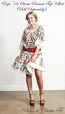 """ROJA ~Colorfully  Embroidered~Mexican Inspired~ """"OTOMI""""  Above Knee Skirt"""