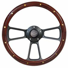 """14"""" Mahogany Wood Steering Wheel w/ Black Chevy Horn for any Chevy Car or Truck"""