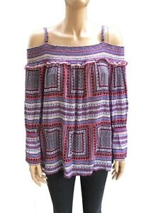 NWT-INC-International-Concepts-Cold-Shoulder-Smocked-Straight-Neck-Top-XL