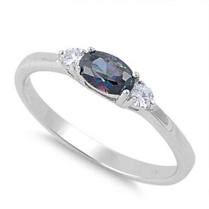 Oval Rainbow Topaz Halo Cubic Zirconia  .925 Sterling Silver Ring Sizes 4-10