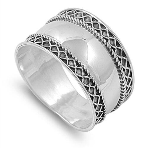 Oxidised 925 Sterling Silver Wide Bali Braid Boho Ring J L N P R T V