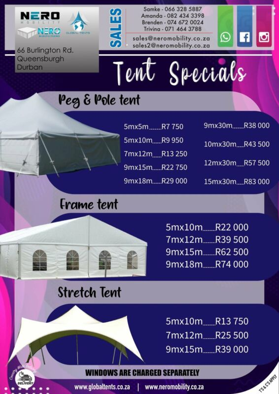 Tents/Chairs/Catering equipment
