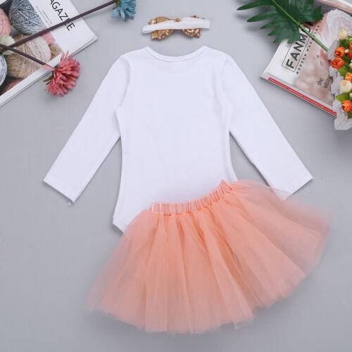 Baby Girls Birthday Romper Jumpsuit Tutu Skirt Dress Headband Set Toddler Outfit
