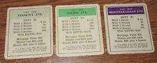 3 Vintage Circa 1935 Monopoly Deeds Used Condition Vermont Pacific Mediterranean