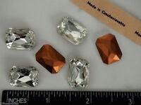 6 Vintage Czechoslovakian Table Cut Octagons 18x13mm Clear Crystal, P01