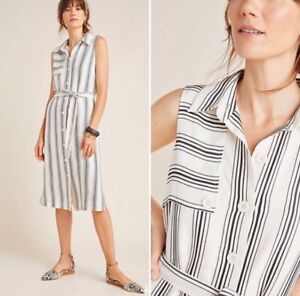 NWT-150-Anthropologie-Maeve-Esther-Striped-Button-Down-Shirtdress-Size-10