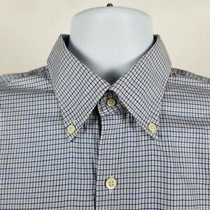Peter Millar Mens Blue Beige Mini Check Dress Button Shirt Sz Large L
