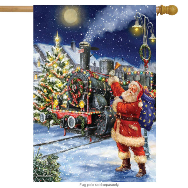 polar express christmas house flag santa claus train lane outdoor decorations