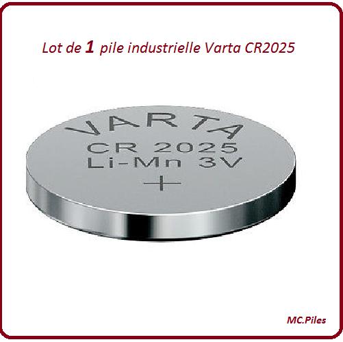 1 pile bouton CR2025 lithium Varta Industrielle, livraison rapide et gratuite