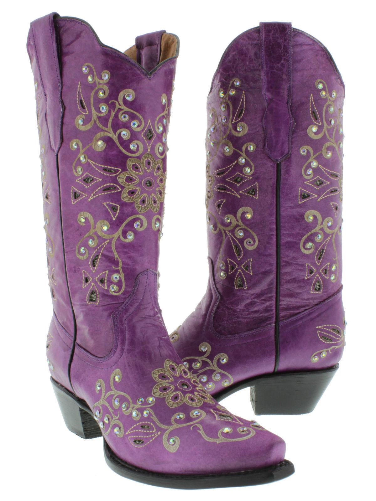 Donna Purple Toe Snake Western Pelle Cowgirl Stivali Floral Rhinestone Snip Toe Purple 6b6edf