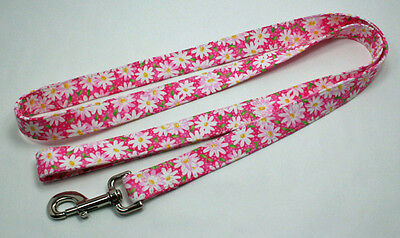 "Handmade Custom Designer ""White Daisies on Pink"" Dog Leash, Lead"
