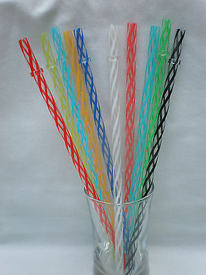 "Clear Swirl with Colored Stripes Acrylic Straws Reusable 9"" with Rings BPA Free"
