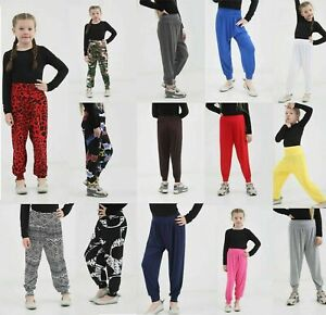 Girls-Kids-Harem-Trousers-Ali-Baba-Long-Pants-Baggy-Printed-Leggings-Yoga-Bottom