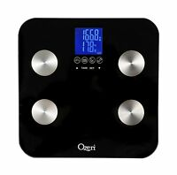 Ozeri Touch 440 lb Digital Bath Scale - Measures Weight Body Fat Hydration Muscle & Bone Mass w Auto Recognition for 8 Users Health Aids