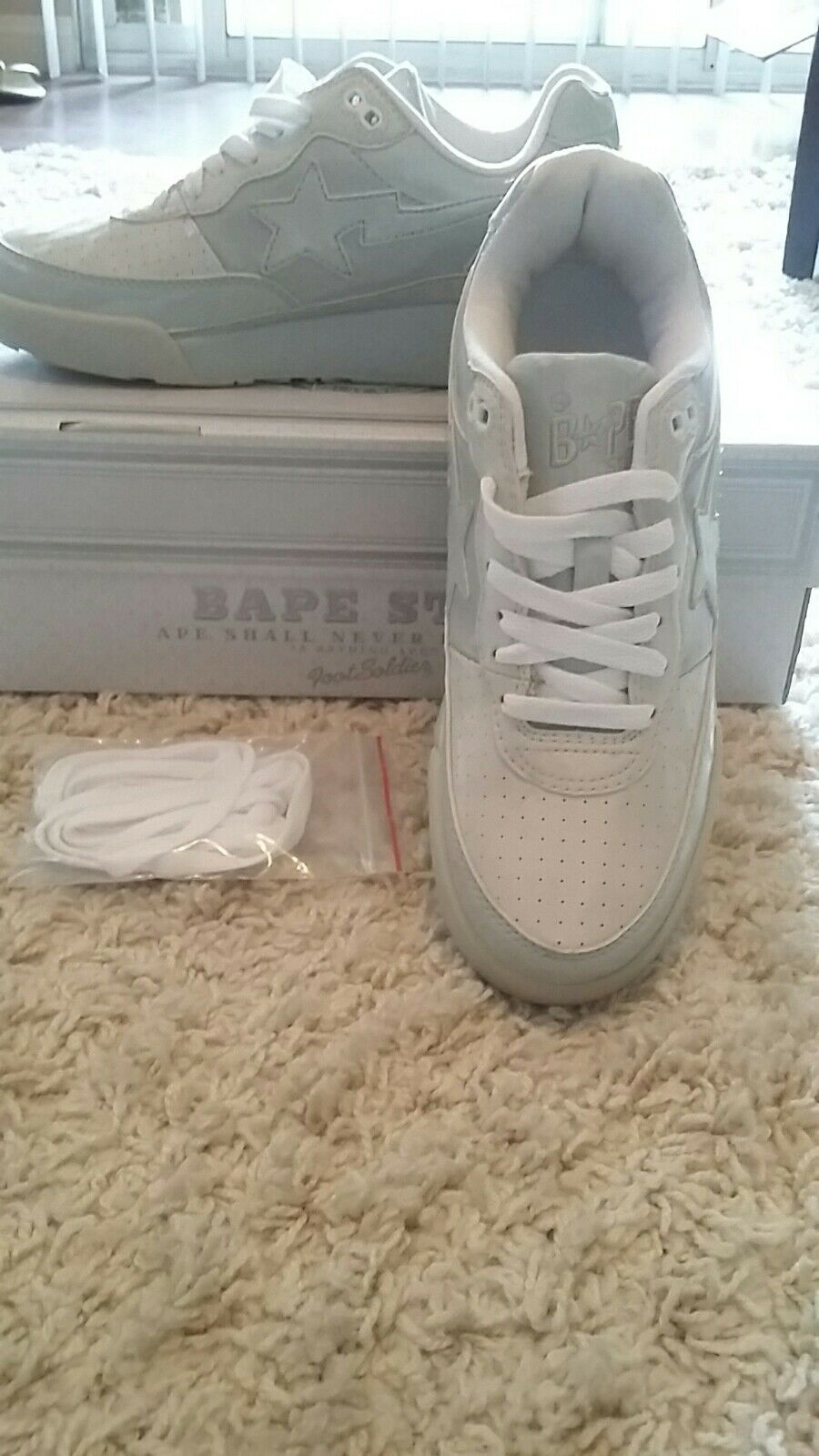 A BATHING APE(BAPE) BRAND NEW AUTHENTIC BAPESTAS In GREY ON GREY HIGH GLOSS