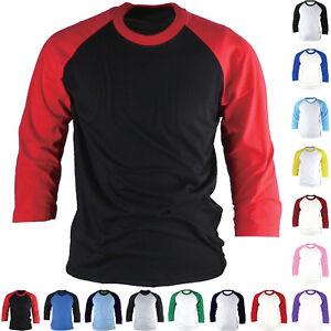 298f8d0a490 Raglan T-Shirt 3 4 Sleeve Baseball Jersey Round Crew Neck Sports ...