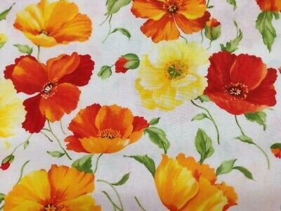 """Deko-Stoff  /""""Mohn gelb-orange/"""" € 8,50//qm Meterw. 165 cm ab 0,5 m Baumwolle"""