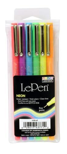 Marvy UCHIDA Le Pen Set of 6 Neon Vivid Colored Pens 4300-6F