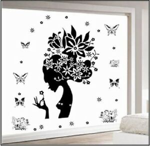 Removable-Door-Wall-Decal-Vinyl-Sticker-Lady-Butterfly-PROMOTION-SELLING