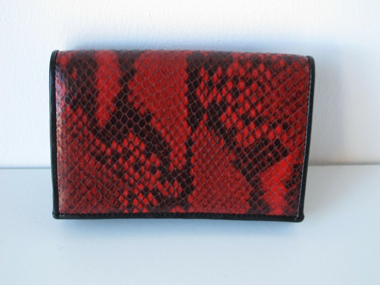 Paul Smith medium red snake-effect concertina purse