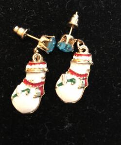 Betsey-Johnson-Snowman-Earrings-Blue-Crystal-Rhinestone-Enamel-Post