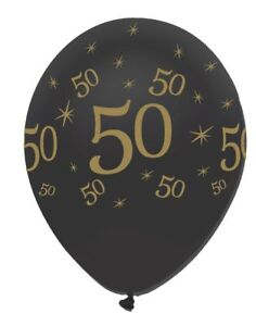 6-x-Black-amp-Gold-Latex-Balloons-50-Adults-50th-Birthday-Party-Decoration-Helium