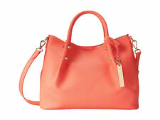 VINCE CAMUTO Tosha 100% Leather Small Travel Tote color Fiery Coral NEW