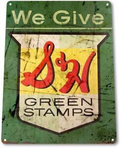 S-amp-H-Green-Stamps-Tin-Metal-Sign-Rustic-Retro-Stamp-Metal-Sign-Decor-Sign