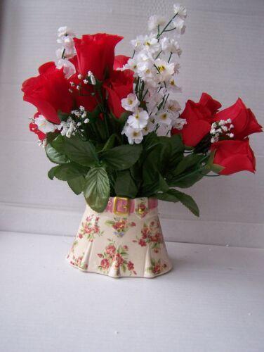 MED ceramic floral cream roses novelty vase planter dressing table ornament new