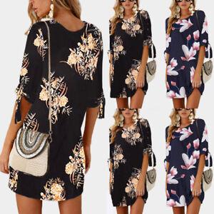Women-Summer-Boho-Short-Mini-Maxi-Evening-Party-Beach-Dress-Floral-Sundress-S-XL