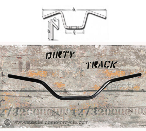 Manubrio Dirty Track Vintage Basso Nero Lucido Comandi 22mm