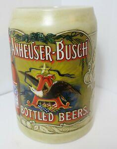 1991-Anheuser-Busch-Budweiser-Beer-Mug-Ceramarte-Brazil-Stein-Bald-Eagle