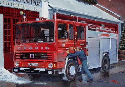 Dennis Fire Engine Essex Fire Brigade Blank Birthday Fathers Day Card