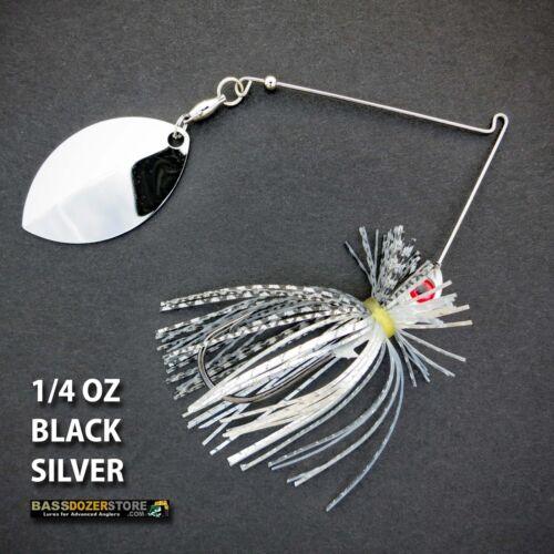 BLACK SILVER spinnerbait spinner baits Bassdozer spinnerbaits FINESSE 1//4 oz V