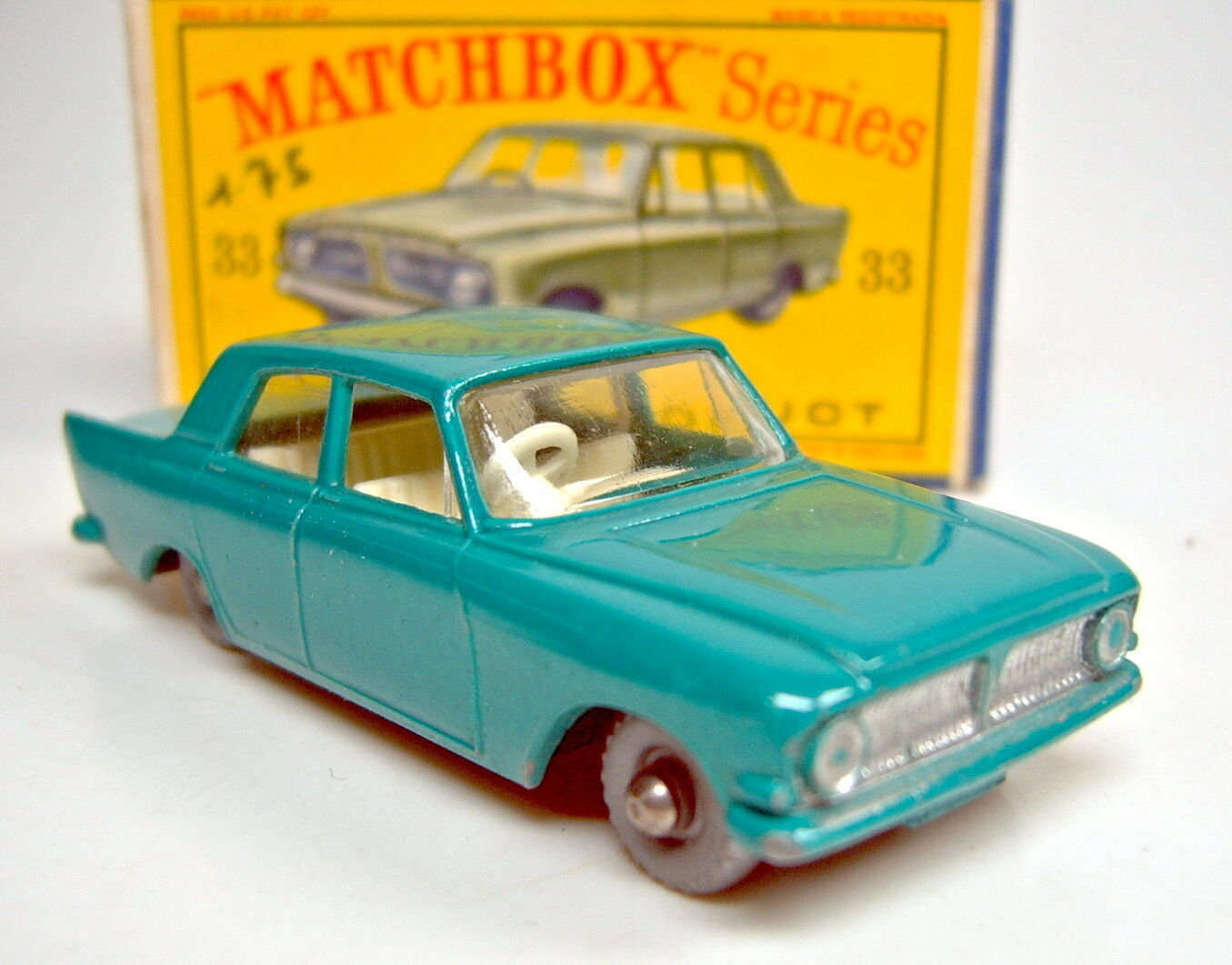 Matchbox RW 33B Ford Zephyr türkisgreen silverne Räder in  D  Box