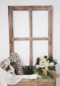 deko fenster fensterrahmen sprossenfenster mit blumenkasten holz shabby vintage ebay. Black Bedroom Furniture Sets. Home Design Ideas